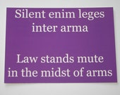 ON SALE! Latin Quote Postcard - Purple - Law Stands Mute
