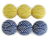 6 Large Fabric Buttons Set - Gentle Waves in Yellow and Blue - Fabric Covered Buttons