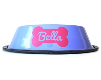 Personalized Purple Dog Bowl - Pink Bone with custom name - non skid - Girly - Cute -