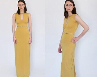 Mustard Yellow Keyhole Sleeveless Maxi Dress XS S M L XL