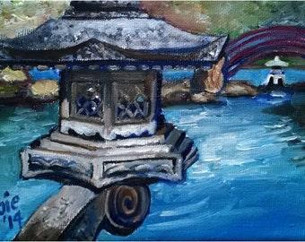 Japanese Garden - 7x5in Original Mini Oil Painting