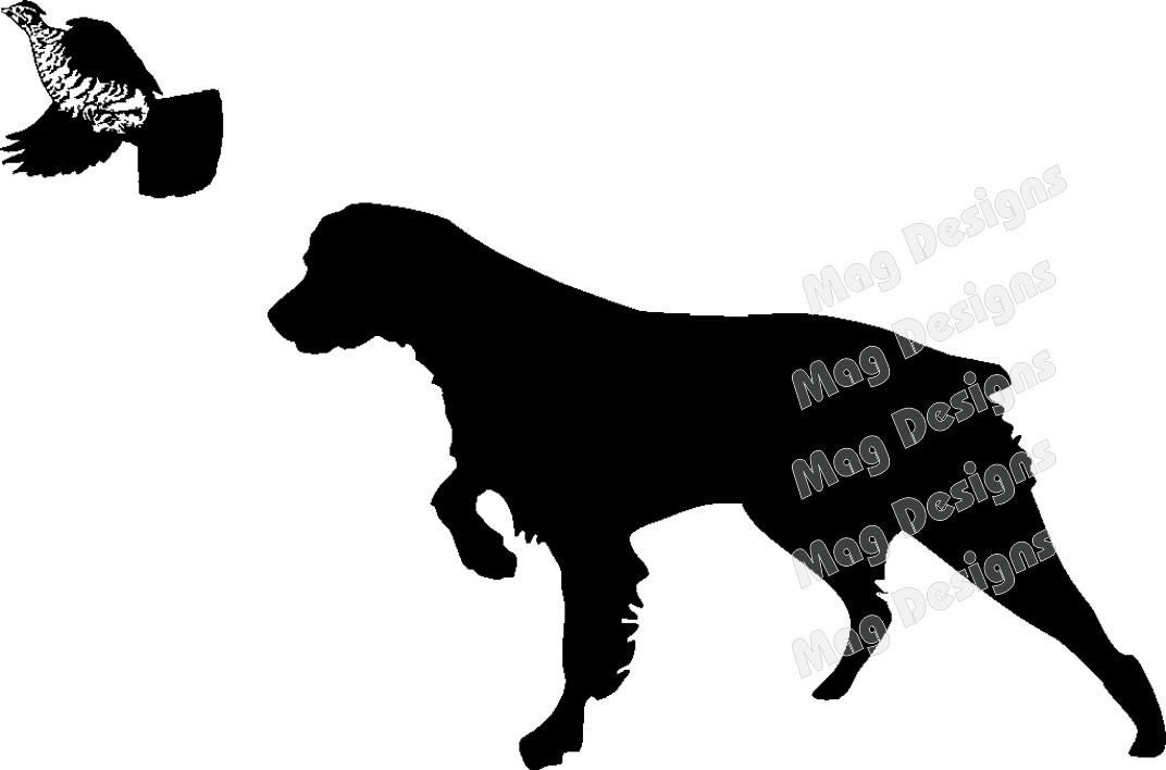 Brittany Spaniel Vinyl Dog With Flushing Grouse Vinyl Car - Sporting dog decals