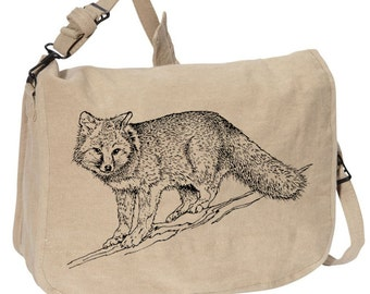 FOX -- Canvas messenger bag -- large field bag -- adjustable strap skip n whistle