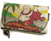 MTO. Foldover Burlap Zipper Clutch for Spring/Summer. Repurposed Kona USA Coffee Bag with Buddha. Handmade in Hawaii.