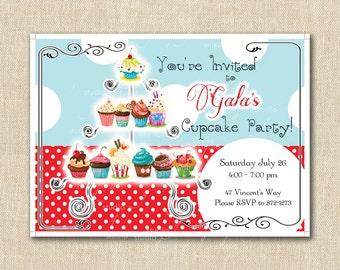 Cupcake French Bakery Party Invitation  - Polka Dot Dessert Birthday - Cupcake Party! PRINTED INVITATIONS