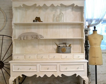 Painted Cottage Chic Shabby  Farmhouse Hutch