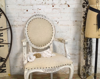 Painted Cottage Chic Shabby Farmhouse Arm Chair