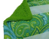 1+ Reusable Swiffer Wet Jet Pads, PAISLEY GREEN, EcoSwift Pads, Washable Swiffer pads, Terry Cloth Pads, Velcro Wet Jet pad, EcoGreen, Detro