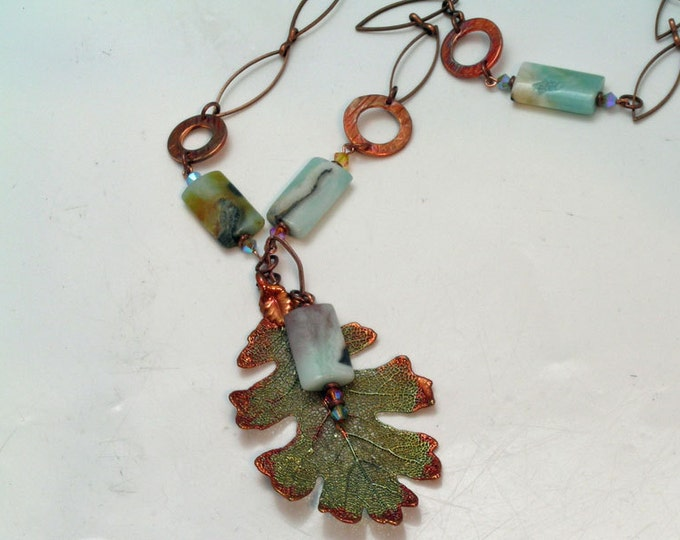Oak Leaf Pendant and Hammered Ring Necklace and Earrings