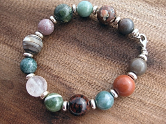 Multi color Stone Bracelet Sterling Silver Lobster Clasp jasper agate green red pink brown ooak jewelry