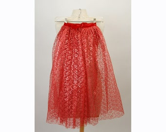 1950s lace skirt, red lace skirt, sheer lace skirt, tea length skirt, Size XS, Child skirt