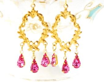 SALE - Victorian Vintage Pink Rhinestone Earrings - Chandelier Earrings, Vintage Jewels