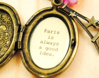 Audrey Hepburn Quote Locket - Women's Locket - Paris is always a good idea