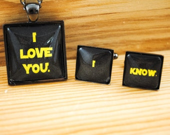 Star Wars Cuff Link and Necklace Set - Hans and Leia - I love you. I know. - Bride and Groom Gift, Anniversary Gift