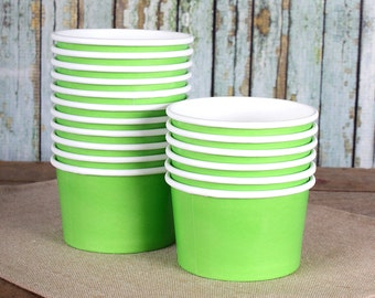 Small Lime Green Paper Ice Cream Cups, Ice Cream Bowls, Sundae Cups, Ice Cream Party Cups, Dessert Cups, 4oz Ice Cream Party Cups (18)