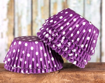 Purple Polka Dot Cupcake Liners, Purple Cupcake Liners, Purple Baking Cups, Purple Cupcake Wrappers, Purple Muffin Papers (50)