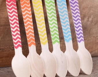 "Mini Wooden Spoons, Boys Rainbow Chevron Stamped Spoons, Ice Cream Spoons, Stamped Wooden Spoons, Mini Taster Spoons (4.25"" - 18 ct)"