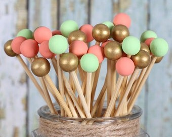 Coral, Mint & Gold Lollipop Sticks, Cake Pops Sticks, Marshmallow Pop Sticks, Painted Rock Candy Sticks, Wedding Cake Pop Sticks (12)