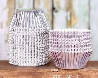 Mini Silver Foil Cupcake Liners, Mini Silver Cupcake Liners, Silver Baking Cups, Mini Cupcake Liners, Silver Truffle Cups, Silver Candy Cups