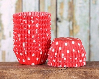 MINI Red Polka Dot Cupcake Liners, Mini Red Baking Cups, Red Cupcake Wrappers, Valentine's Cupcake Liners, Christmas Cupcake Liners (100)