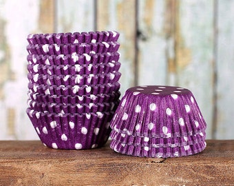 MINI Purple Polka Dot Cupcake Liners, Purple Dot Candy Cups, Polka Dot Treat Cups, Purple Cake Pop Cups (100)