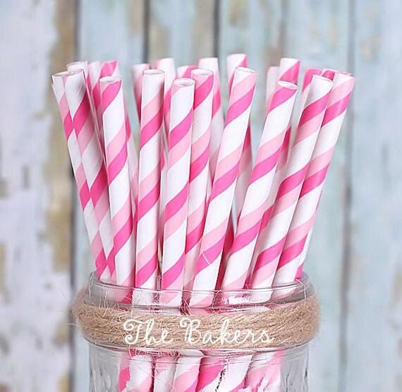 Pink Ombre Stripe Paper Straws, Pink Party, Pink Party Straws, Vintage Straws, Pretty in Pink, Baby Shower, Ballerina, Mason Jar Straws (30)