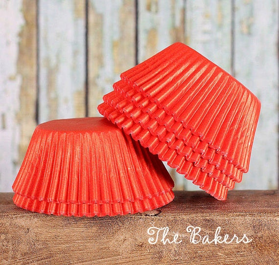 Warm Red Cupcake Liners, Red Paper Cupcake Liners, Red Standard Size Cupcake Liners (50 count)