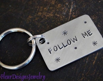 FOLLOW ME Key Chain, Twitter Handle Keychain, Custom Key chain