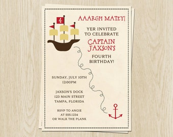 Pirate Birthday Invitations, Boys, Captain, Matey, Ships Ahoy, Ship, Treasure, Map, Anchor, Set of 10 Printed Cards, PIRBY, Pirate Party