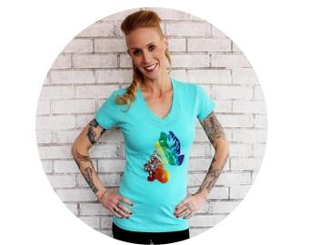 Rainbow Rollerskate Ladies Fitted Vneck Tshirt, Women's Clothing, Junior Fit, Short Sleeved, Hand Screen-printed, Roller Derby, Rollergirl