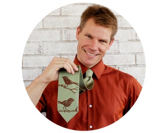 "Men's Necktie Screen Printed With Birds, Sage Green Light Olive Men's 58"" Tie, Woodland Animal, Wedding, Nature Inspired, Fathers Day Gift"