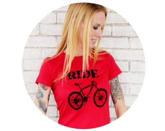 Ladies Cotton Crewneck Mountain Bike Tshirt in Red or Custom Colors, Women, T Shirt, Graphic Tee, Bicycle