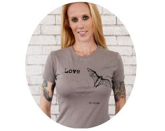 Women's Tshirt, Halloween Bat Batty Love Tee, Love is Blind, Cotton Crewneck, Screenprinted, Graphic Tee, T Shirt, Ladies, Warm Grey