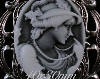 """40x30mm Cameo - Translucent White on Black - """"1920's Retro - Girl with Pearls"""" - 1 pc : sku 08.02.14.5 - V21"""