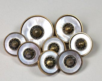 Vintage Mother Of Pearl Brass Buttons MOP Shell Mounted In Brass Metal OME Set of 8