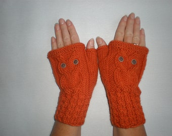 Orange owl mittens - Autumn owl mittens - Woolen hand knit gloves - Orange fingerless gloves - Autumn arm warmers - Merino wool mittens