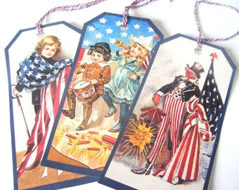 4th Of July Tags - Set Of 8 - Vintage 4th - Holiday Tags - Patriotic Tags - Flags N Fireworks - Uncle Sam - Red White Blue - Ornaments