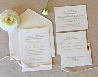 Letterpress Wedding Invitation - Bello Design - Foil, Calligraphy,Traditional, Elegant, Simple, Classic, Script, Destination, Summer