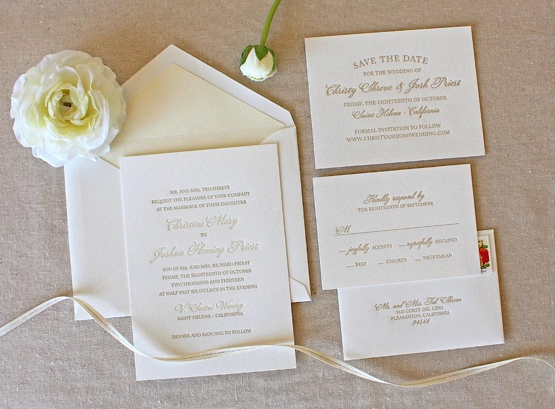 Letterpress wedding invitation bello design foil for Simple elegant wedding invitations ireland