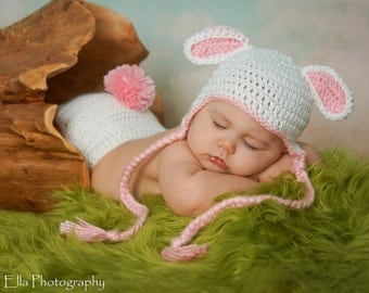 SUPER SALE ready to ship Crocheted Baby White Easter Lamb/Bunny Hat and Diaper Cover set with attachable tail