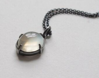 White  Moonstone Cat's Eye Minimal Pendant Oxidized Silver