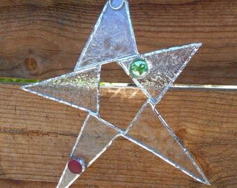 Stained Glass Star - Clear - Suncatcher - Ornament