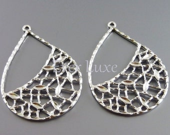 2 large net filigree pendants, matte silver brass leaf detailed metal findings for jewelry making supplies 1122-MR