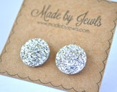Faux Druzy Stone Earrings - Silver - Buy 3, get 1 FREE