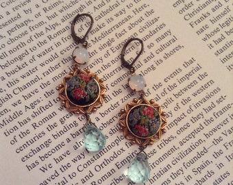 Gorgeous Vintage Upcycled Needlepoint Floral Assemblage Earrings with Aqua Quartz Briolettes,OOAK,Repurposed,Mothers day