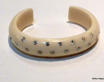 Vintage Cream Celluloid Thermoplastic Bracelet Clear Rhinestone Open Back
