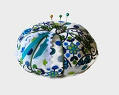 Blue and Green Pin Cushion - Turquoise Floral Pincushion - Sewing Needle Cushion - Sewing Accessory - Needlecrafting