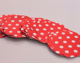 50 Scallop Tags Christmas Red Polka Dot Gift Tag 2.5 inch READY TO SHIP Scrapbooking Journaling Spots Supply Thank you Card Stock Diecut