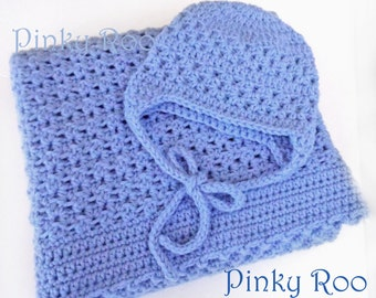 Crochet Baby Blanket and hat in blue