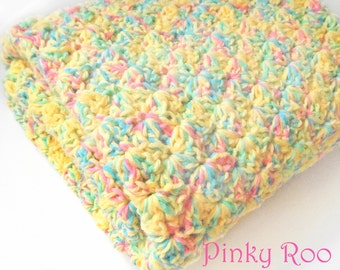 Crochet Baby Blanket in Fun mix of colors, yellow, pinks, green and blues in the mix / Crib Size blanket / baby shower gift